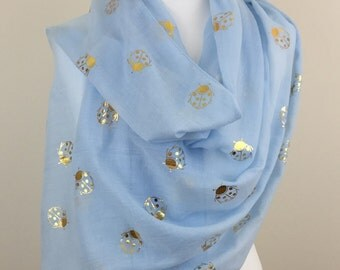 Metallic Gold Ladybird Blue Scarf, Spring Summer Scarf, Autumn Scarf, Womens Scarf, Gifts for her, Accessories, Handmade