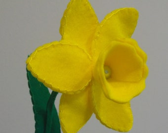 Handmade soft felt yellow daffodil flower gift