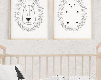Nursery Wall Art, LION and HEDGEHOG Illustration, Black and White Kids Prints, Nursery Decor, Kids Poster, Printable Kids Gift, Download