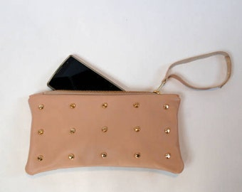 Italian leather clutch and diamond studs