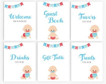 Baby Shower Table Decoration Signs Set- Baby Mustache - Printable