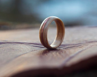 Maple Burl with Copper Wire wooden ring, Wooden wedding band, Unisex wooden ring, wedding rings //  Crafted with pride and quality in Canada