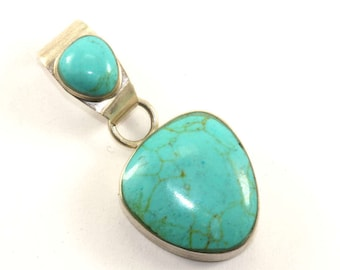 Vintage Mexico Turquoise Inlay Pendant 925 Sterling Silver PD 1153-E
