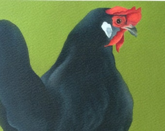 Mary the black leghorn chicken painting