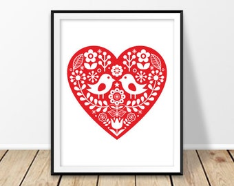 Scandinavian print, Red heart print, Folk heart, Digital download, Swedish pattern, Floral, Rustic wall decor, Birds and flowers, Valentines