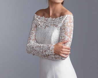 Off-shoulder bridal topper, Lace topper, Lace bolero, Long sleeve bolero, Guipure bridal jacket finished with sequins