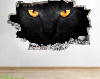 Cat Kitten Wall Sticker 3d Look - Bedroom Lounge Nature Animal Wall Decal Z75
