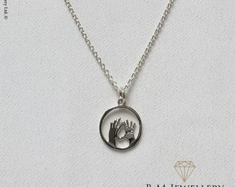 Silver Feminist Vulva Vagina Hands Pendant and Chain | Feminist Necklace | Feminist Jewelry