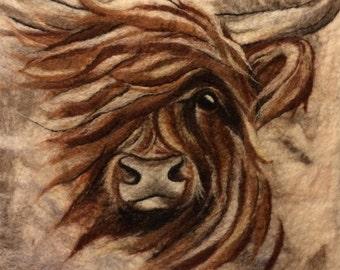 Highland cow - MADE TO ORDER -needle felt animal painting