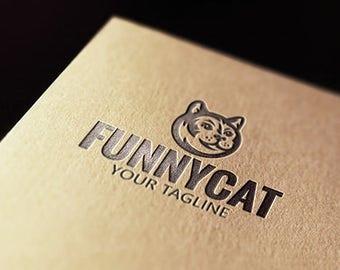 Funny Cat Logo. Kitty Logo. Pet Logotype.
