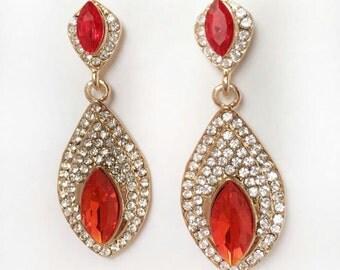 Clearance!Orange Earrings,Orange Crystal Earrings,Statment Earrings,Drop Earrings,Dangle Earrings,Crystal Earrings,Length 2''