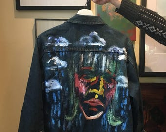 Hand Painted Jean Jacket Rain Girl