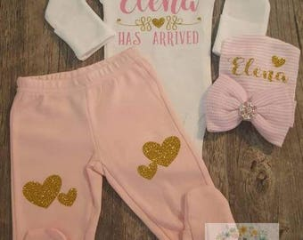 Baby Girl, Monogrammed,  Coming Home,  Going Home,  Has Arrived, Baby Shower,  Heart Set