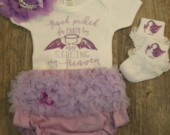 Baby Girl, Coming Home,  Going Home,  Baby Shower, Heaven,  Angel Wings, Hand Picked For Earth ...