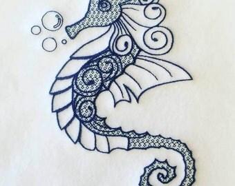 Machine Embroidery Design - Ornamental Seahorse