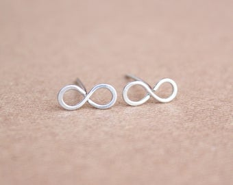 Sterling Silver Infinity Earrings Tiny Silver Studs Tiny Infinity Small Stud Tiny Stud Earrings Small Silver 925 Earrings Sister Jewelry