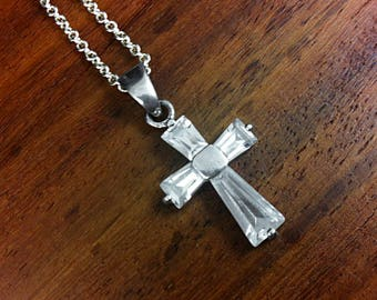 925 Sterling Silver Rhinestone Cross Necklace - Vintage