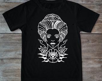 Sorceress shirt, magic shirt, magician, woman shirt, tattoo shirt, classic tattoo art, old school shirt, hipster gift, gift for tattoo lover