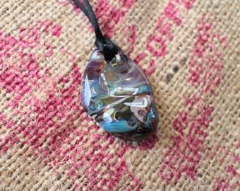 Handmade borosilicate glass worry stone pendant