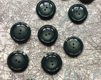 Set of ten two hole dark grey/green plastic buttons - 28 mm