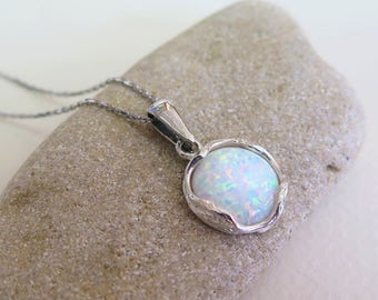White Opal necklace - silver Opal necklace - Opal Silver necklace - White Opal necklace - silver necklace - Opal Pendant - White Opal