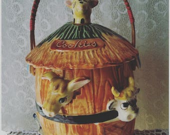 Mid Century Noah's Ark Novelty Biscuit Canister Kitsch Cookie Jar 50s/60s Kitchen China