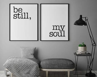Be Still My Soul Poster, Be Still My Soul Print, Bedroom Prints, Set Of 2, Yoga Wall Art, Minimal Print, Couple Print, Fashion Prints