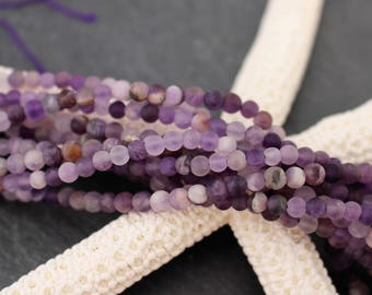 4mm Frosted Amethyst Beads, Full Strand or Half Strand, Natural Beads, Tiny Beads, Purple Beads, February Birthstone, Gemstone Beads, Purple