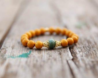 yellow Bracelet, Gemstone Bracelet, Beaded Bracelet, Stacking Bracelet, Elastic Bracelet, Womens Bead Bracelet, Gemstone Jewelry