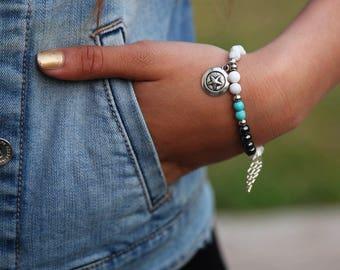Howlite bracelet, Gemstone Bracelet, Howlite Stone bracelet, Beaded Bracelet, Womens Bead Bracelet, Gemstone Bracelet, Yoga Bracelet