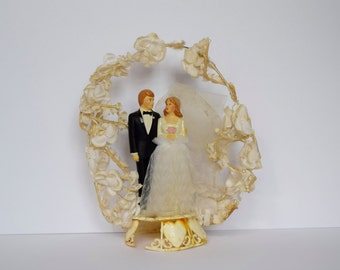 Vintage Bride and Groom Wedding Cake Topper Floral Arch #34