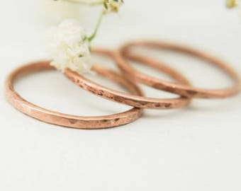 1.5 mm copper stacking ring, stackable ring, hammered copper ring