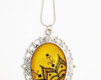 Lace necklace - Statement necklace - Big pendant - Hand drawn - Mandala necklace - Vintage jewelry - Pendant necklace - Yellow necklace