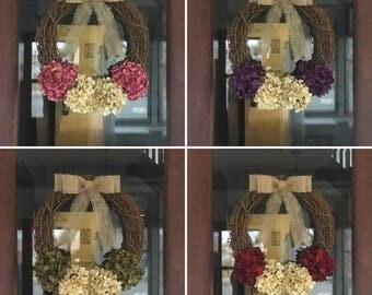 CUSTOM Wreath, Front Door Wreath, Hydrangea Wreath, Front Door Decor, Rustic Wreath, Winter Wreath, Spring Wreath, Summer Wreath
