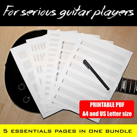 a4 printable guitar blank charts