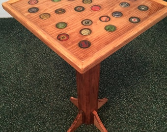 Bottle Cap End Table - Handmade Wooden End Table