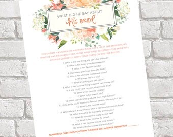 What Did He Say About His Bride? - Bridal Shower Game