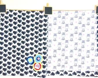 Hearts and Zebras Baby Flannel Blanket / Baby Girl Bedding / Baby Gift / Baby Blanket