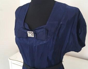 Navy blue 1940s dress sz medium