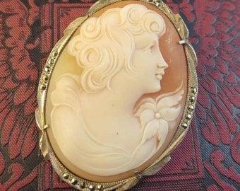 RESERVED Brooch Pendant Brooch Vintage Cameo 800 Silver