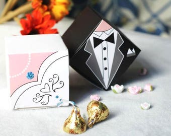 100 Bride and Groom Wedding Favor Boxes/Traditional Wedding Dress Cube Favor Gift Boxes/DIY Bride Dress Favor Box/DIY Groom Tux Favor Boxes