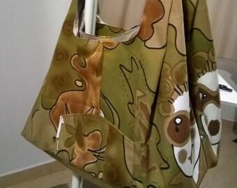 Borsa di tela , borsa a tracolla , fatta a mano , borsa color verde militare , borsa fantasia ,borsa da donna , moda donna .