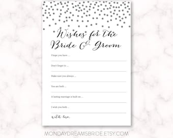 Printable Wishes for the Bride and Groom Bridal Shower Game Silver Glitter Confetti, Silver Glitter Bridal Shower Game, Wedding BRS1B GM028