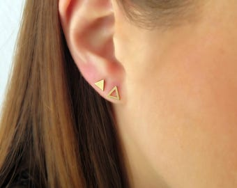Tiny solid gold studs, 14K Triangle gold studs, 14K Gold Triangle studs, Small gold studs, Geometric gold earrings, Tiny triangle earrings