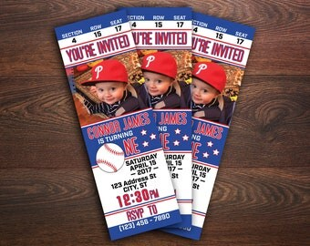 Baseball Birthday Invitation, Baseball Ticket Invitation, Let's Play Ball, Batter Up, Baseball Theme Birthday, Custom Birthday Invitation