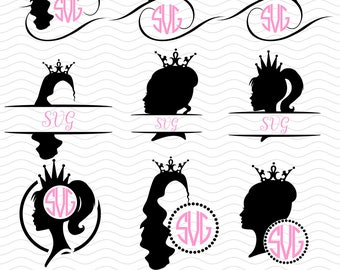 Princess monogram Svg  - Princess Cut File, Ai, Eps, Dxf, Princess Silhouettes, disney princess svg