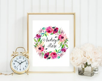 Floral name print, girl name printable, customized baby name, nursery baby girl name, baby name gift, nursery wall art, baby name art print