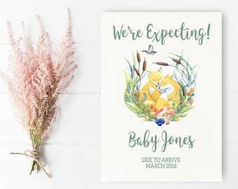 Pregnancy Announcement Printable Woodland Pregnancy Reveal Floral Fox We're Expecting Announcement Card Spring Forest Reveal We're Pregnant