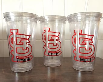 STL Cardinals Plastic Tumbler With Straw