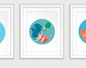 Mermaid Nursery decor set, PRINTABLE art, Mermaid decor, Baby mermaid, Nursery art, Nursery decor, Girl's room, Baby Girl nursery